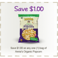 Save 75¢ off ONE (1) bag of Annie's Organic Popcorn or Puffs